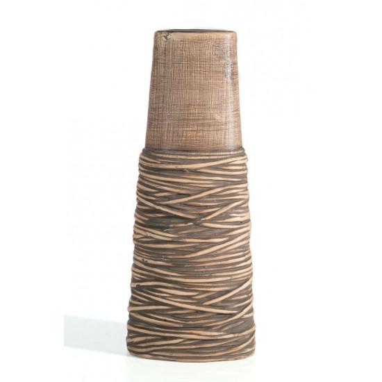 Wazon ceramiczny brązowy 16 x 9 x 41 cm styl etno - 16 X 9 X 41