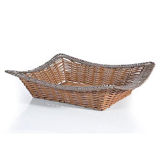 Koszyk dekoracyjny 41 x 34 x 8 cm brązowy - 41 X 34 X 8 cm