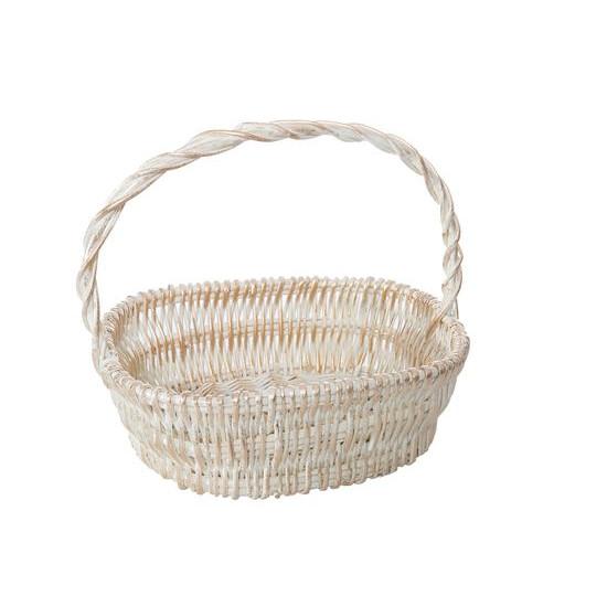 Koszyk z naturalnej wikliny 46 x 35 x 15 cm biało-złoty - 46 X 35 X 15 cm