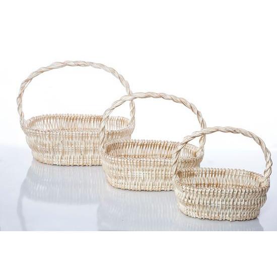 Koszyk z naturalnej wikliny 46 x 35 x 15 cm biało-złoty - 46x35x15