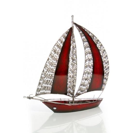 Figurka dekoracyjna żaglówka z metalu hand made 60 cm - 58 X 15 X 60 cm