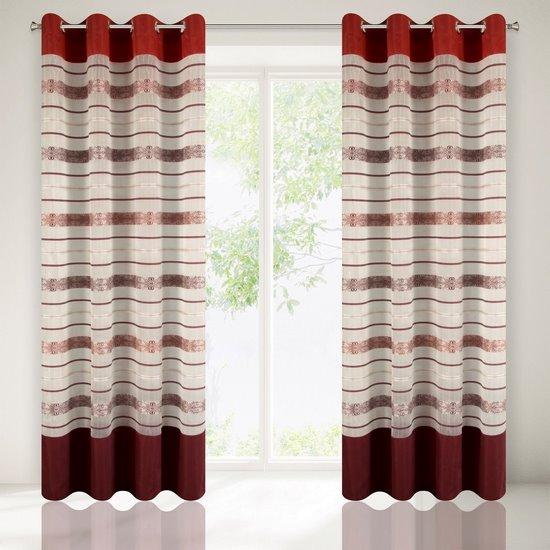 Wzorzysta zasłona do salonu biały czerwony przelotki 140x250 cm - 140 X 250 cm - biały/pomarańczowy