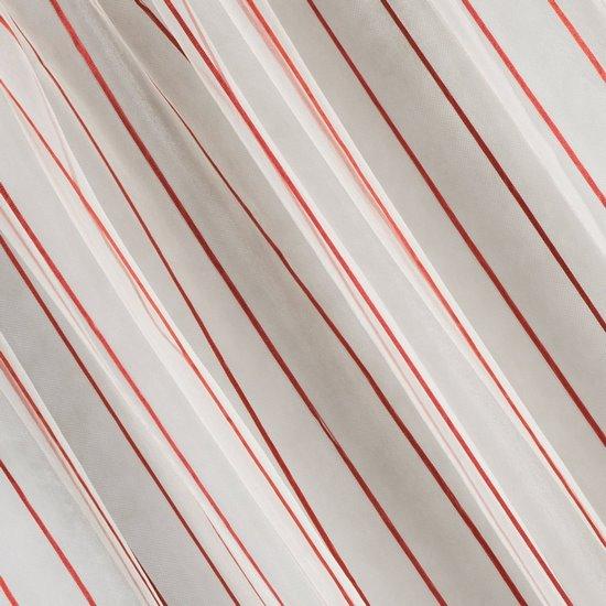 Oryginalna kremowa zasłona w czerwone prążki na taśmie 140x250 cm - 140 X 250 cm - kremowy/czerwony