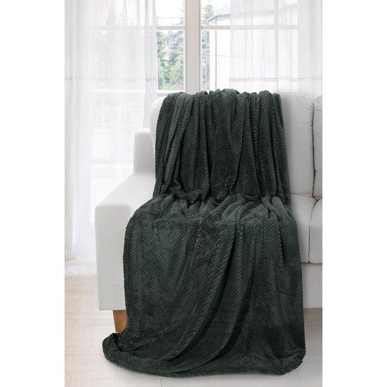 Koc miękki jednokolorowy ciemnozielony 220x240cm - 220x240 - zielony