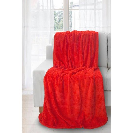 Koc miękki i puszysty jednokolorowy czerwony 170x210 cm - 170x210 - czerwony