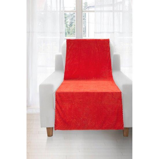 Koc miękki i puszysty jednokolorowy na fotel czerwony 70x140 cm - 70x140