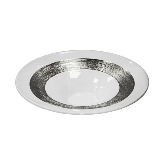 Patera dekoracyjna okrągła biało-srebrna - ∅ 31 X 9 cm