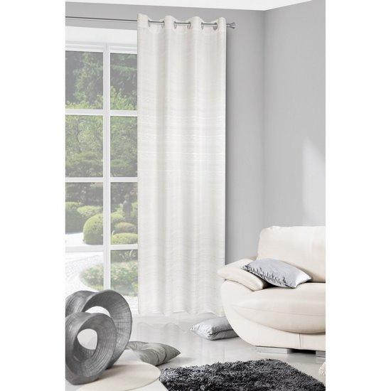 Zasłona biała styl skandynawski z połyskiem biała 140 X 250 cm PRZELOTKI - 140x250 - biały