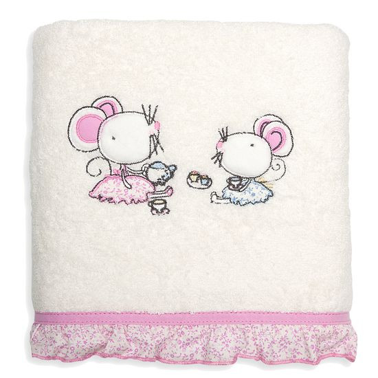 Ręcznik dziecięcy z aplikacją z myszkami i falbanką 50x90cm - 50 X 90 cm