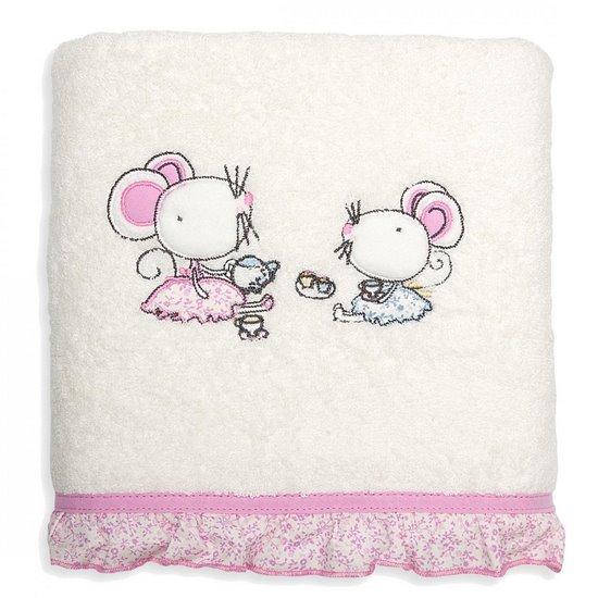 Ręcznik dziecięcy z aplikacją z myszkami i falbanką 70x140cm - 70 X 140 cm - kremowy
