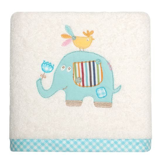 Ręcznik dziecięcy z aplikacją z niebieskim słonikiem  50x90cm - 50x90