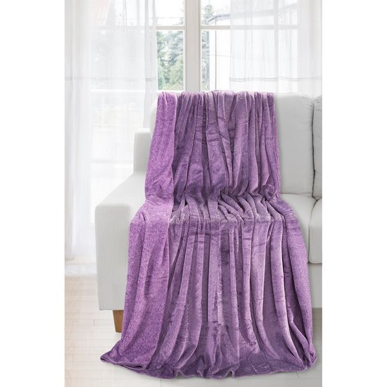 Koc miękki fioletowy gładki 170 X 210 cm - 170x210 - fioletowy