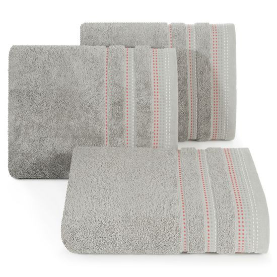 Ręcznik z bawełny z ozdobnym stebnowaniem 50x90cm - 50 X 90 cm - srebrny