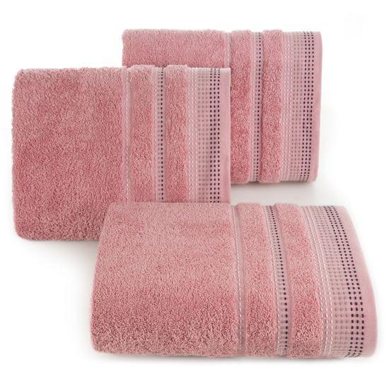 Ręcznik z bawełny z ozdobnym stebnowaniem 50x90cm - 50 X 90 cm - pudrowy