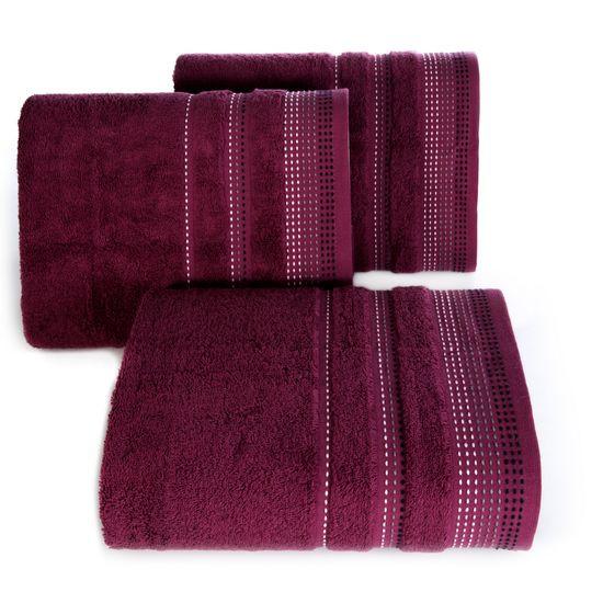 Ręcznik z bawełny z ozdobnym stebnowaniem 50x90cm - 50 X 90 cm - fioletowy