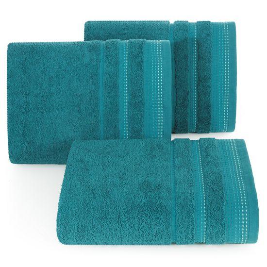 Ręcznik z bawełny z ozdobnym stebnowaniem 70x140cm - 70 X 140 cm - turkusowy