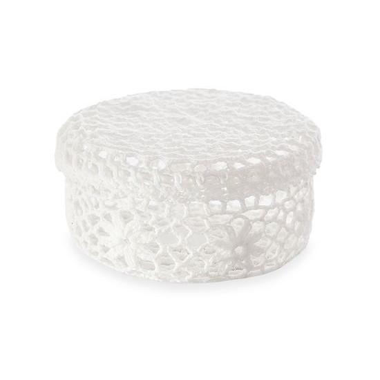 Koszyczek koronkowy z wieczkiem 19 x 10 cm biały - ∅ 19 X 10 cm