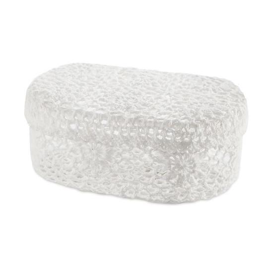 Koszyczek koronkowy 18 x 12 x 8 cm 100% bawełna - 18 X 12 X 8 cm - biały