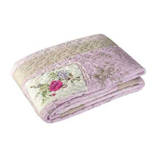 Narzuta patchwork kwiaty 220 x 240 cm - 220 X 240 cm - różowy