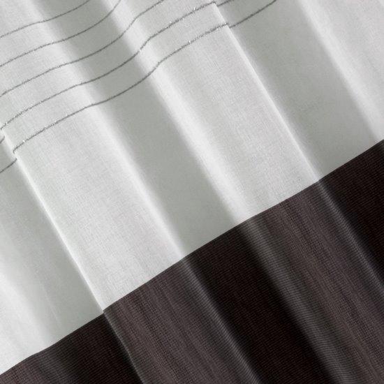 Zasłona biała z ciemnym pasem przelotki 140x250cm - 140x250 - biały