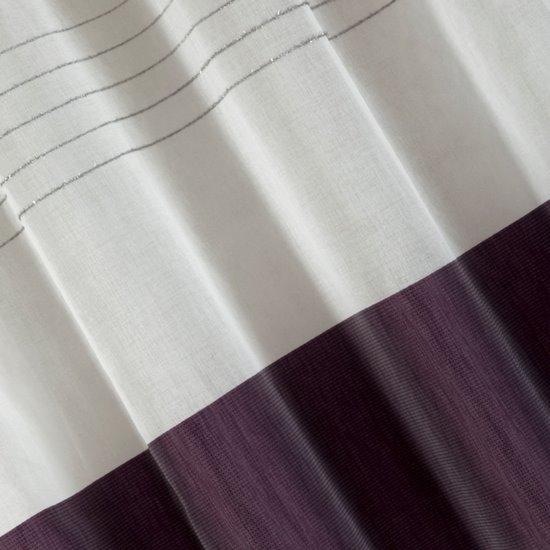 Zasłona biała z fioletowym pasem przelotki 140x250cm - 140 X 250 cm