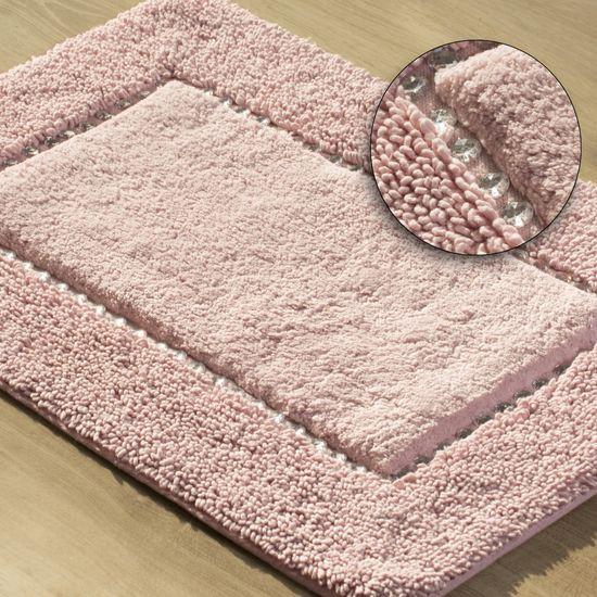 Miękki dywanik łazienkowy z kryształami różowy 75x150cm - 75 X 150 cm - różowy