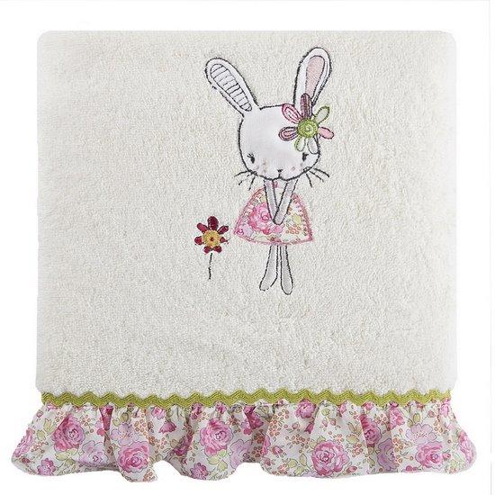 DZIECIĘCY RĘCZNIK kąpielowy z falbanką RÓŻOWY królik 50x90 cm - 50x90