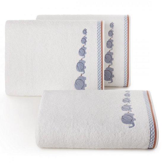 Dziecięcy ręcznik kąpielowy słoniki niebieski 50x90 cm - 50 X 90 cm