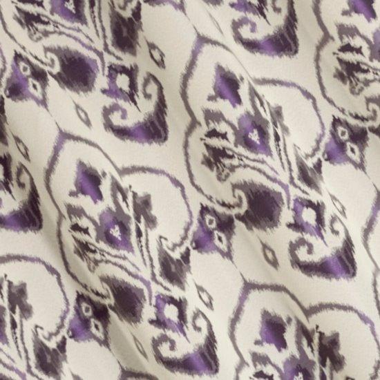 Kremowa zasłona z fioletowym ornamentem 140x250 przelotki - 140 X 250 cm