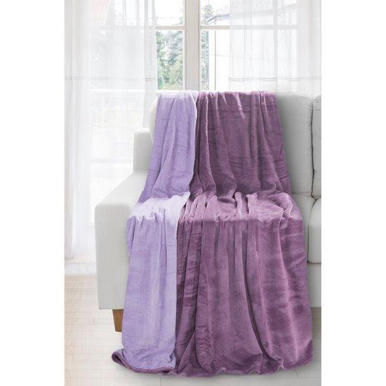 Miękki i puszysty koc dwustronny fioletowo-liliowy 170x210cm - 170x210