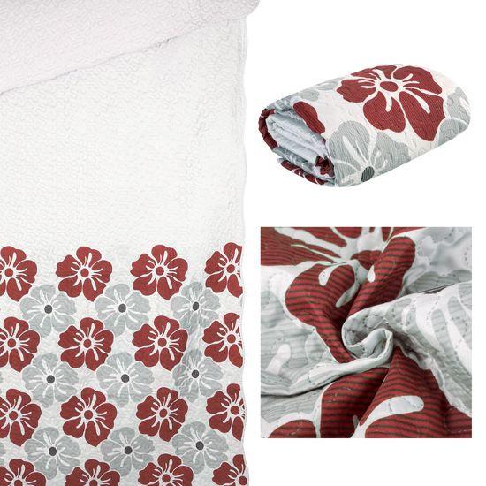 Narzuta dwustronna wzór w kwiaty bordowe+szare 220x240cm - 220x240