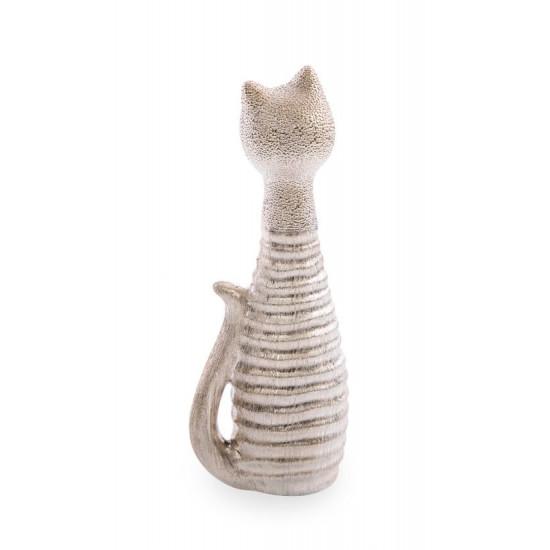 Figurka ceramiczna kot prążkowana faktura 27 cm - 10 X 7 X 27 cm
