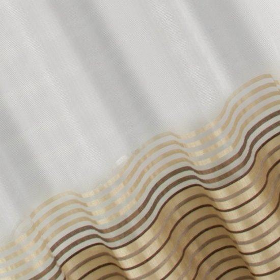 Zasłona z atłasowymi pasami biały+beżowy przelotki 140x250cm - 140 X 250 cm