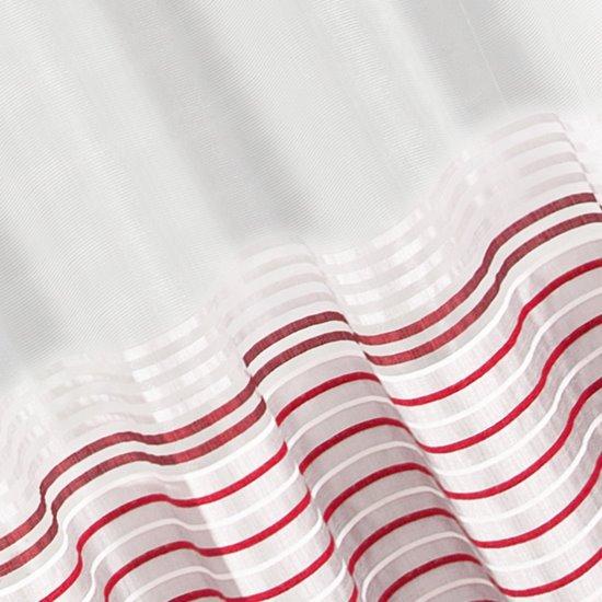 Zasłona z atłasowymi pasami srebrny+czerwony przelotki 140x250cm - 140 X 250 cm