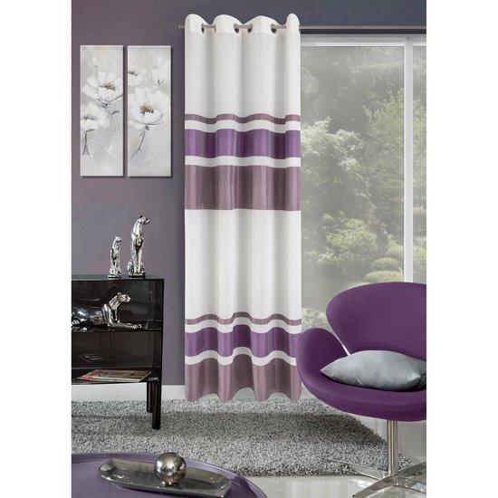 Zasłona poziome pasy nowoczesny wzór biały+fiolet przelotki 140x250cm - 140x250