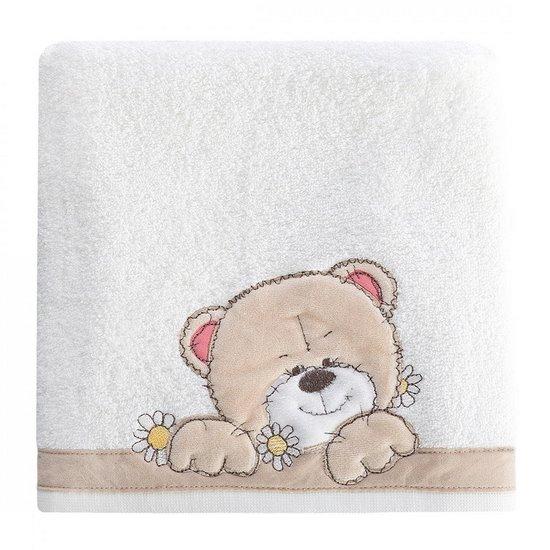 Ręcznik dziecięcy z welurową aplikacją z misiem 50x90cm - 50 X 90 cm - biały