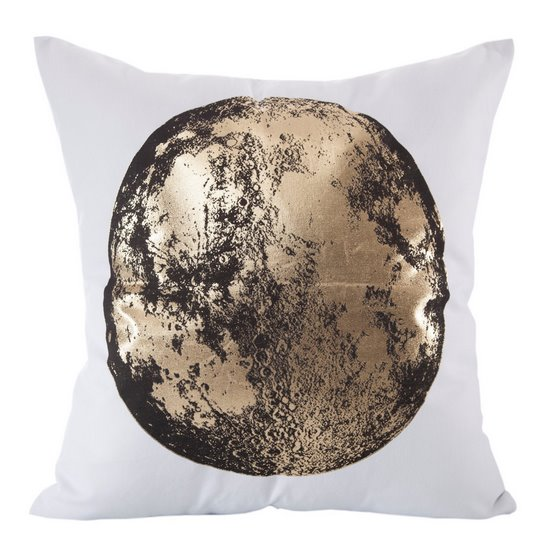 Poszewka czarno-złoty nadruk księżyc 45 x 45 cm - 45x45 - biały / złoty