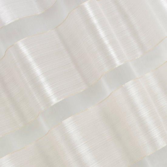 Zasłona poziome atłasowe pasy+organza biały+kremowy przelotki 140x250cm - 140x250