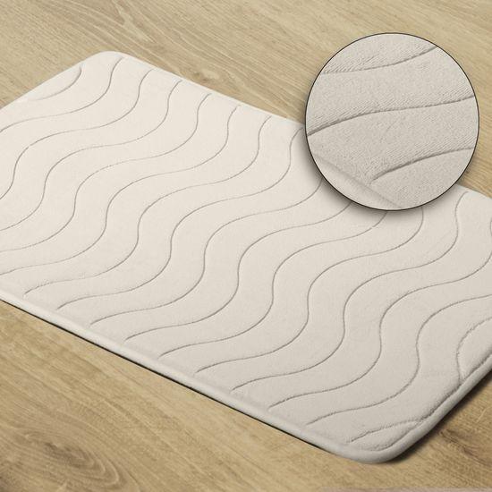 Dywanik łazienkowy wzór z falą kremowy 50x70cm - 50 X 70 cm - kremowy