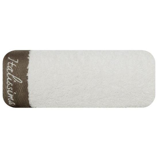 Ręcznik z haftem italissima home kremowy+brązowy 70x140cm - 70 X 140 cm - kremowy
