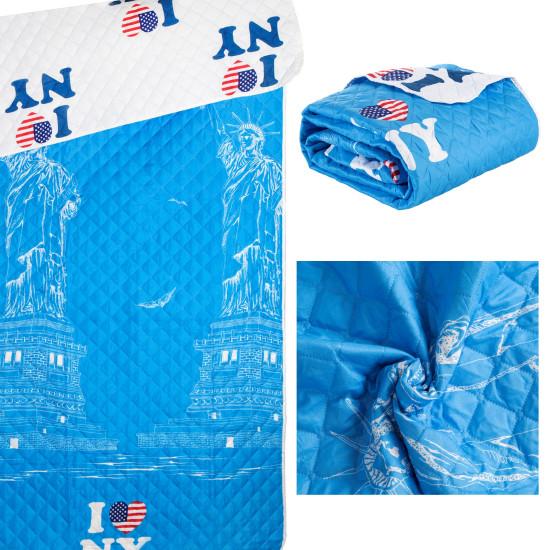 Narzuta młodzieżowa dwustronna motyw nowojorski biały+niebieski 170x200cm - 170 X 210 cm
