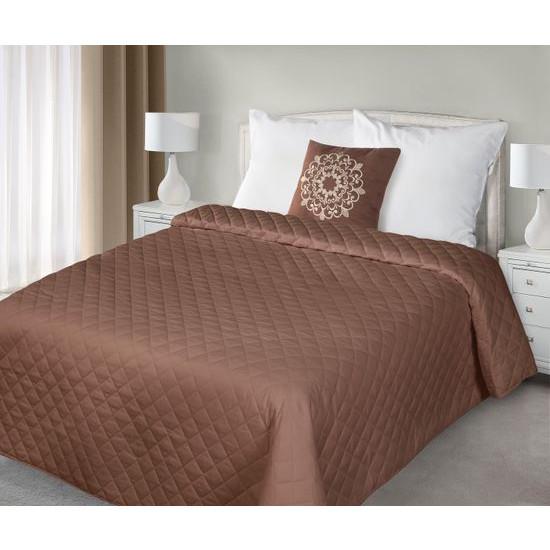Narzuta pikowana w kwadraty czekoladowy brąz+poduszka 170x210cm - 170 X 210 cm, 40 X 40 cm - brązowy