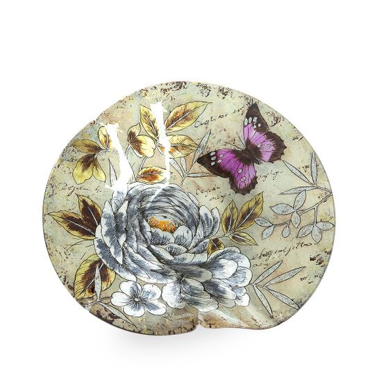 Talerz dekoracyjny szkło malowane kwiaty  - ∅ 39 cm