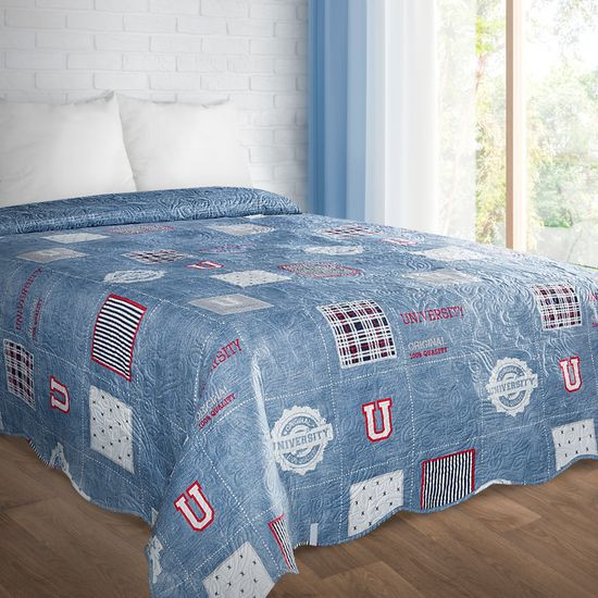 Narzuta na łóżko młodzieżowa 170x210 cm niebieska  - 170 X 210 cm