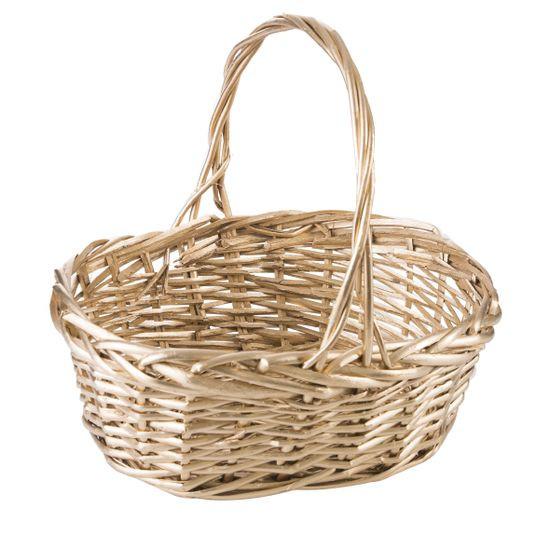 Koszyk z naturalnej wikliny 43 x 33 x 8 cm biało-złoty - 43 X 33 X 13 cm - złoty
