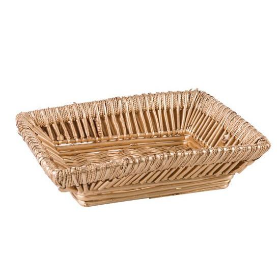 Koszyk z naturalnej wikliny 46 x 34 x 13 cm cm biało-złoty - 46 X 34 X 13 cm