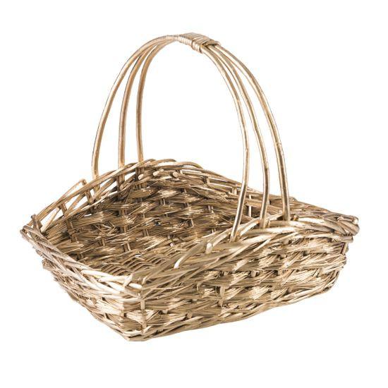 Koszyk z naturalnej wikliny 49 x 31 x 17 x 12 cm cm biało-złoty - 49 X 31 X 17 X 12 cm - złoty