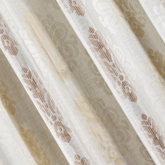 Zasłona z cieniowanymi ornamentami brązowa przelotki 140x250cm - 140x250 - kremowy / brązowy