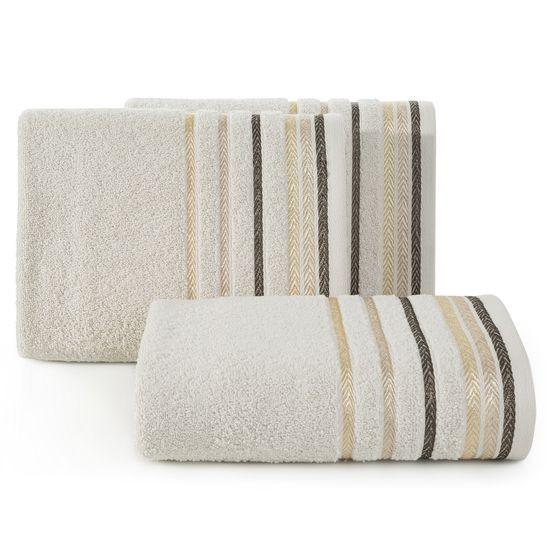 Ręcznik z bawełny z kolorowymi paskami w jodełkę 50x90cm beżowy - 50 X 90 cm