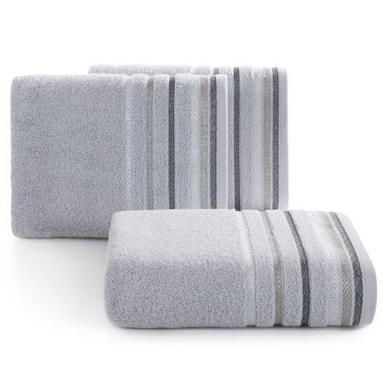 Ręcznik z bawełny z kolorowymi paskami w jodełkę 70x140cm popielaty - 70 X 140 cm - srebrny